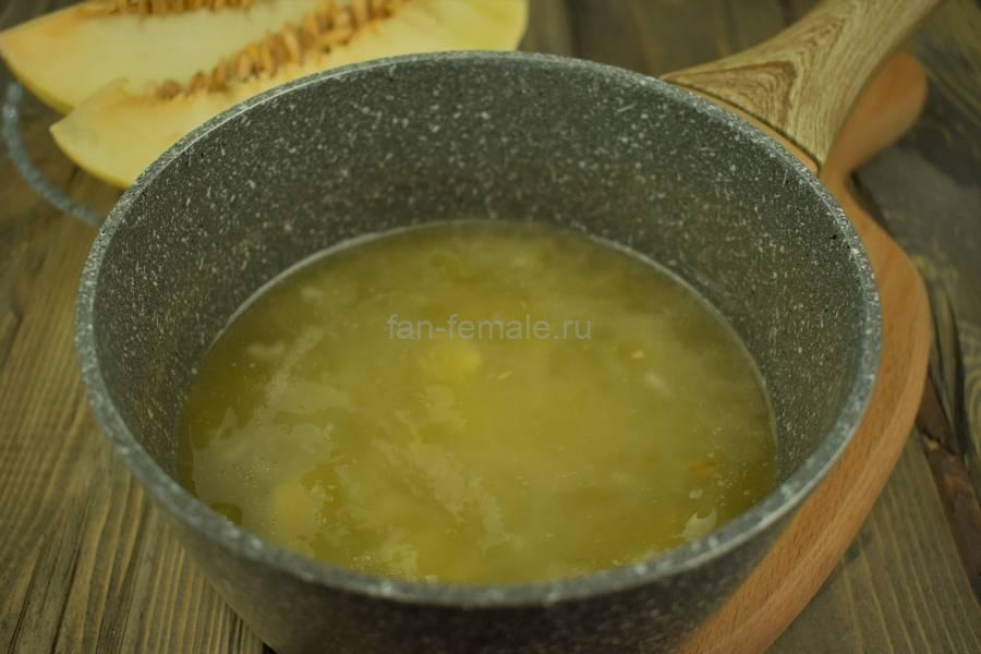 Приготовление домашнего йогурта с дыней, шаг 4