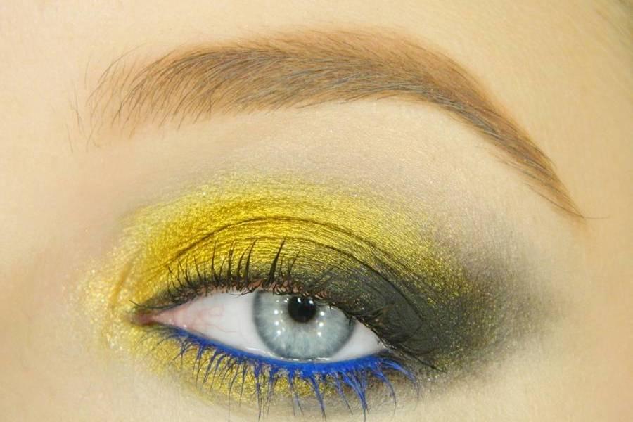 Вечерний золотистый с синим макияж глаз